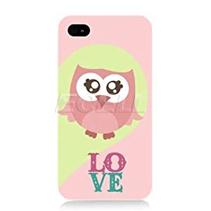 Cerhinu Head Case Designs Kawaii Pink Love Owl Protective Back Case Cover for Apple iPhone 4 4S
