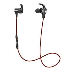 TaoTronics Auriculares Bluetooth 4.1 deporte inálambrico, Auricular con Imán Magnético, aptX y manos libres Mic incorporado, Calificación IPX5 A Prueba de Salpicaduras, Estéreo de Diseño, intercambiables los ganchos para los oídos, Color Rojo