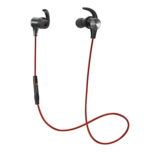 Bluetooth Headphones, TaoTronics Wireless 4.2 Magnetic Earbuds, Snug Fit for Sports with Built in Mic TT-BH07 Red (IPX6 Waterproof, aptX Stereo, 6 Hours Playtime, cVc 6.0 Noise Cancelling Microphone)