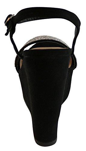 Cambridge Select Womens Crystal Rhinestone Beaded Ankle Strappy Platform Wedge Dress Sandal Black Imsu 6XlWvBf21