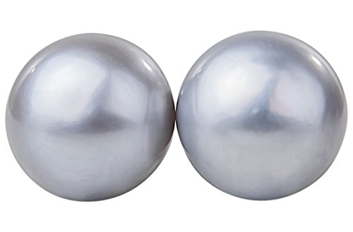 (Light Grey Freshwater Pearl Stud Earrings Sterling Silver 10mm)