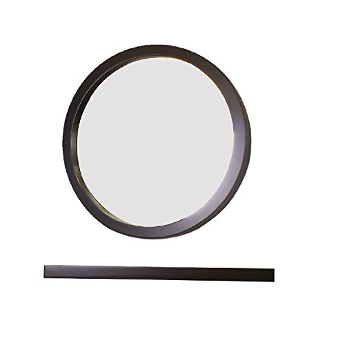 Bellaterra Home Wood Round Mirror, Espresso, 21.7