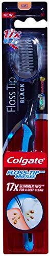 (3 Pack) Colgate Floss-tip Black Toothbrush, Soft