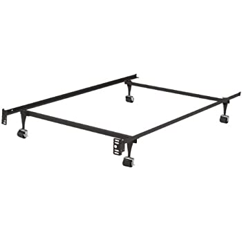 this item kings brand heavy duty metal twin size bed frame with rug rollers locking wheels - Metal Frame Twin Bed