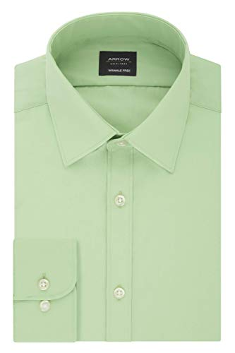 Arrow 1851 Men's Xtreme Slim Fit Dress Shirt Poplin, Silver sage, 17