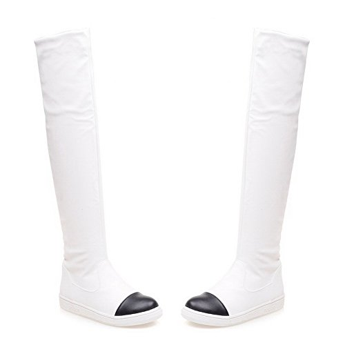 Mini Toe Agoolar Women Heel Tone Two Round Stivali bianchi zMVpSU