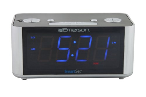 Emerson CKS1708 SmartSet Alarm Clock Radio with USB Charger, Dimmer and 1.4 LED Display