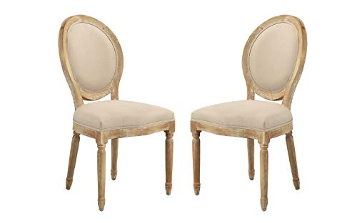 Round Upholstered Chair - 2 Piece Rustic Distressed Dining Room Chairs, Round Back Kitchen Chairs (Antic/Beige)