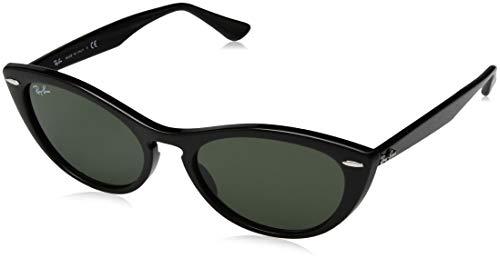 Ray-Ban Women's RB4314N Nina Cat Eye Sunglasses, Black/Green, 54 mm
