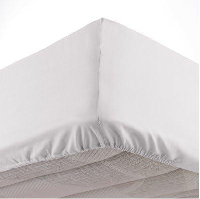 Sábanas bajeras 100% algodón rojo, negro, color blanco, gris 180 x 200 57 hilos: Amazon.es: Hogar