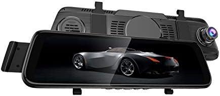 Carrfan 10インチダブルレンズ広角 カー ミラー ダッシュカム マルチメディア タッチ スクリーン DVRリアビュー カメラ ストリーミング ビデオ レコーダー 1080P 外部GPS Gセンサーモーション検出ナイト