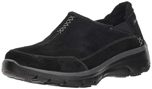 Skechers Women's Easy Going-Hive-Twin Gore Shootie with Faux Fur Trim Loafer, Black, 7 M US