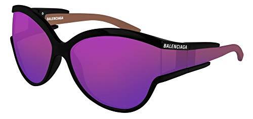 Balenciaga BB0038S Sunglasses 003 Black/Violet Mirror(Double) Lens 63 mm