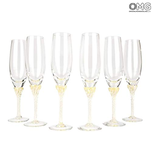 Original Murano Glass OMG Champagne Prosecco Wine Flute - Set of 6 Glasses ()