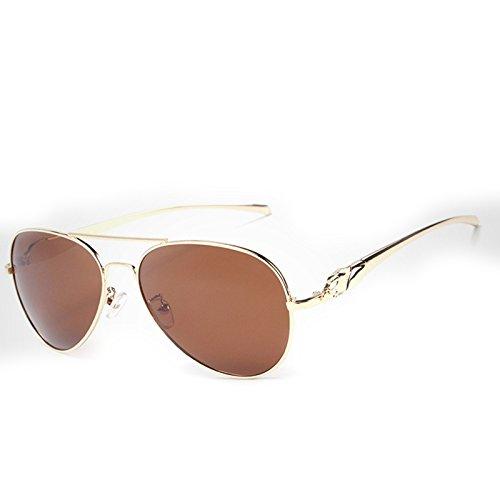 polarisées Brown Sakuldes Lens Golden Coating Lunettes Lens Head Frame Glass Hommes pour New Golden Soleil Soleil Leopard Lunettes Color Black de Glass Frame de v1rqv