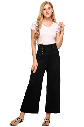 Zeagoo Women's High Waist Stretch Loose Wide Leg Pants with Front Tie,Type4-black,Small