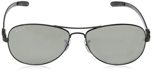 Ray-Ban Tech carbone Fibre Aviator lunettes de soleil en noir Vert polarisé RB8301 002/K7 59 shiny black (shiny black)/GREYMIRRORBLACKPOLAR