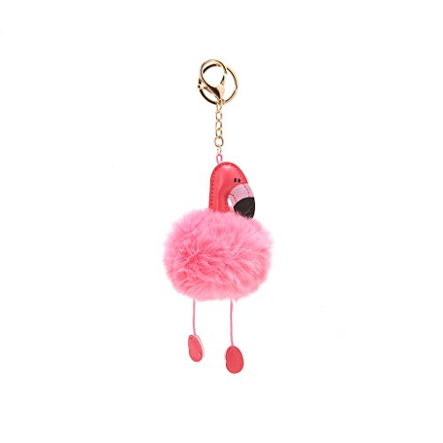 Best-topshop Flamingo Bag Pandent for Women Girls, Faux Fur Ball Cute Soft Travel Casual Pouch Purse Decoration for Wedding Shopping Party School Outdoor (Pink)