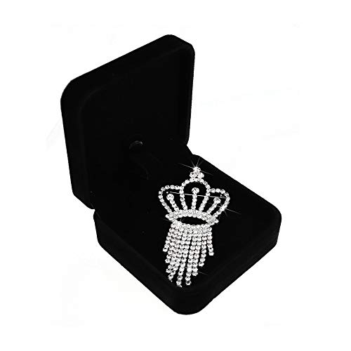 SHINYTIME Tassel Rhinestone Brooch Pin Crystal Silver Pins Wedding Brooches for Women with Gift Box (Tassel-Crown)