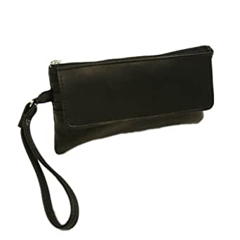 Piel Leather Flap-Over Wristlet, Black, One Size