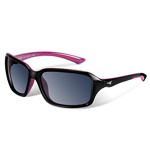 KastKing Alanta Sport Sunglasses for Women,Gloss Black Purple Frame, Smoke Lens