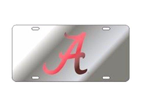 imson Tide Laser Cut Scripted A Mirrored Car Tag-Silver/Crimson ()