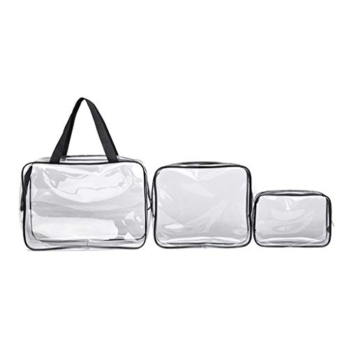 Muranba 3 Pcs Portable Travel Makeup Wash Bag Cosmetic Storage Organiser (Clear)
