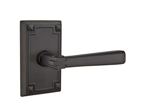 Crafts Emtek Door & Arts - Emtek 5105 American Heritage Arts and Crafts Rosette PASSAGE SET, 3 Knob/Lever options and 4 finish options (Arts and Crafts Lever, Flat Black (US19))