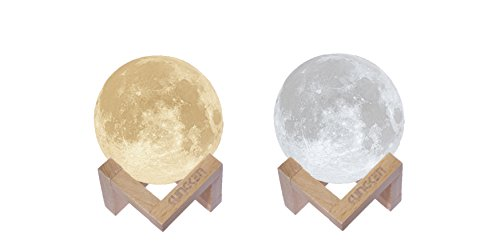 KUNGKEN Rechargeable 3D Printing Moon Lamp Premium Touch Control Luna Night Light Dimmable 2 Colors LED Mood Lamp with Magnetic Wooden Mount 3.15IN (Moonlight String)