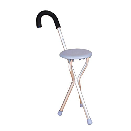 Walker, Rehabilitation Training for The Elderly, Folding Cane Four-Legged Cane Chair Stool Assisted Walking (Color : Gray) by HN Walker