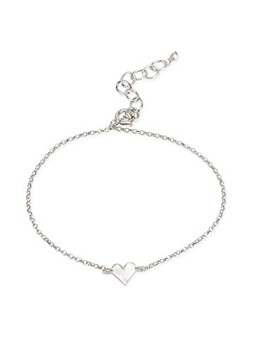 Dogeared Women's The Lucky Charm Bracelet, Heart Charm On Chain Sterling Silver One Size