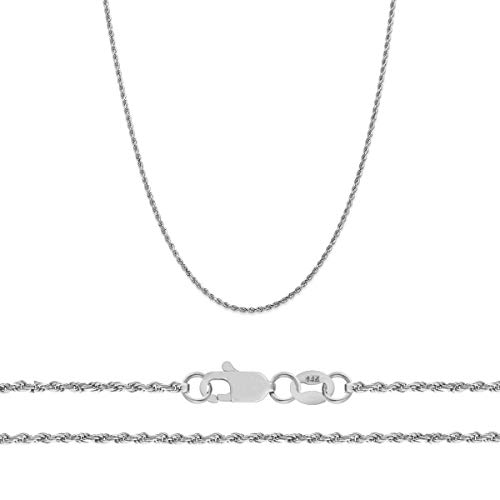 Orostar 14K White Gold 1.5mm Diamond Cut Rope Chain Necklace (16) ()