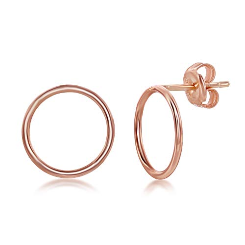 df2d00cce Sterling Silver Rose Gold Plated Open Circle Stud Earrings