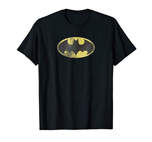 (Batman Retro Bat Logo Distressed T Shirt)