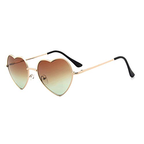 Meyison Heart Shaped Sunglasses Thin Metal Frame Cute Aviator Style Eyewear(gold frame+gradient brown lens) ()