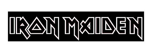 Iron Maiden Decal Sticker, H 1.25 By L 8.5 Inches, White, Black, Yellow, Silver, or Blue (Iron Maiden Window Decal compare prices)