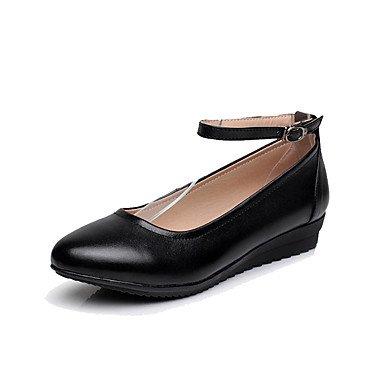 La Mujer Tacones Zapatos Formales Cuero Auténtico Primavera Otoño Office &Amp; Carrera Zapatos De Tacón De Cuña Formal Negro 1A-1 3/4En Negro Us7.5 / Ue38 / Uk5.5 / Cn38 US8.5 / EU39 / UK6.5 / CN40