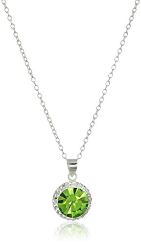Hallmark Jewelry Sterling Silver Clear and August Birthstone Crystal Pendant Necklace, 18