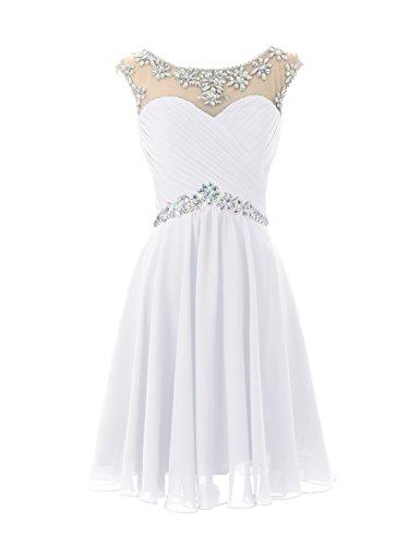DRESSTELLS Short Prom Dresses Sexy Homecoming Dress Chiffon Birthday Party Dress White Size 4