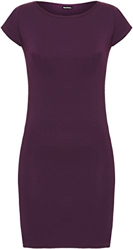 Moulant Femme Longue Top Stretch Mini WearAll Tailles Manches Robe Hauts Pourpre Cap 42 36 Uni EwvSwq