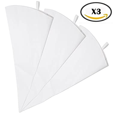 Pridebit Pastry Bag - 3 Pack (18-Inch) Reusable Cotton Decorating Icing Bags Set - Large Piping Bags for Baking Supplies