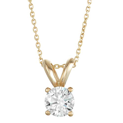 1/4 Carat Lab Grown Diamond Solitaire Pendant, Set In 14k Yellow Gold, Complete With 18 Inch 14k Yellow Gold Cable Chain (Color D-F, VS/SI Clarity) (Si Solitaire Pendant)