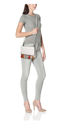 Clutch Rebecca Minkoff in pelle bianca con nappine colorate