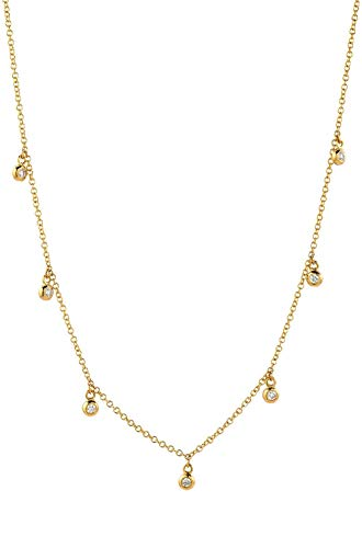 Drop bezel diamond necklace, 14k gold, multiple diamond bezel necklace