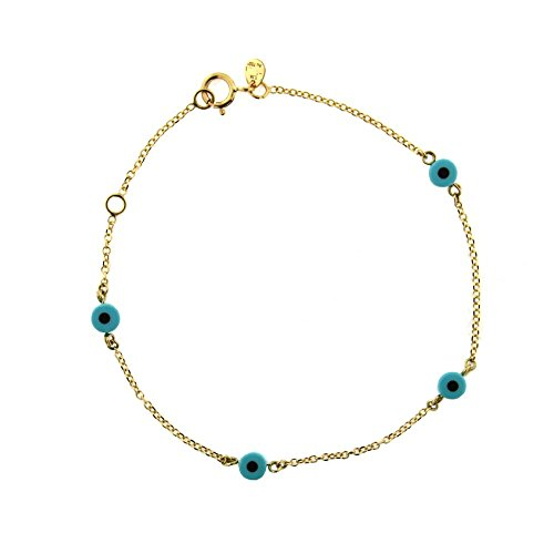 18K Yellow Gold blue eyes bracelet 6.50 inch with extra ring at 6 inches by Amalia