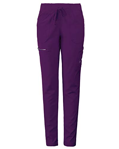 (MG Superflex Women's Stretch Activewear Scrub Pant Tapered Leg Jogger (S, Eggplant))