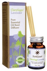 Pure Essential Reed Diffuser - Clarysage/Lavender .9 Ounce Liquid by Sunleaf Naturals