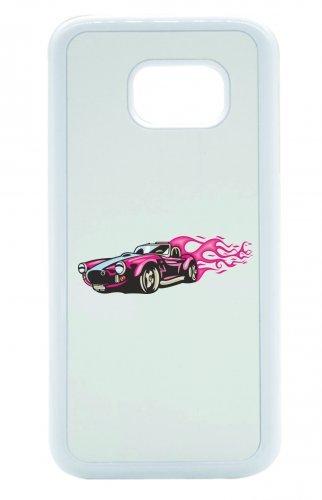 "Smartphone Case Apple IPhone 7 ""Pink Hotrod Cabrio Flammen America Amy USA Auto Car Luxus Breitbau V8 V12 Motor Felge Tuning Mustang Cobra"" Spass- Kult- Motiv Geschenkidee Ostern Weihnachten"