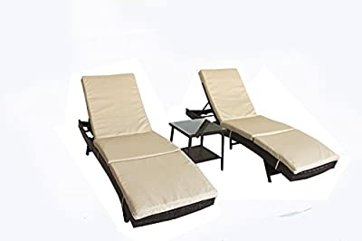 JETIME Patio Lounge Chair Outdoor Brown Rattan Loungr Wicker Portable Chaise Couch Furniture Ajustable Sunbed Garden Couch 4 Color Cushion