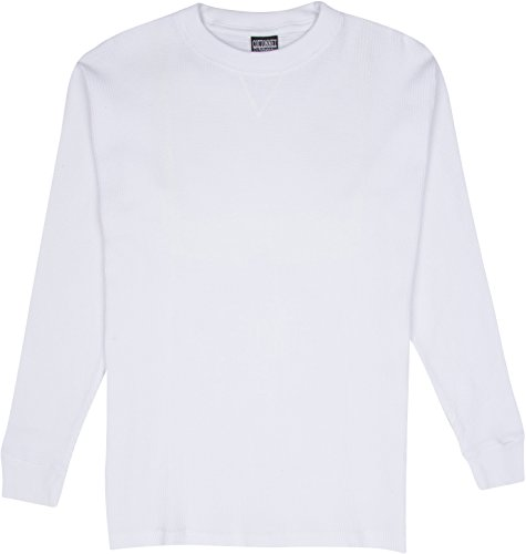 CottonNet Men's Heavy Weight Cotton Long Sleeve Thermal Cold Weather Crewneck Top (1XL, White)